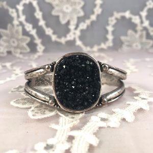 Lucky Brand Black Geode Stone Boho Cuff Bracelet